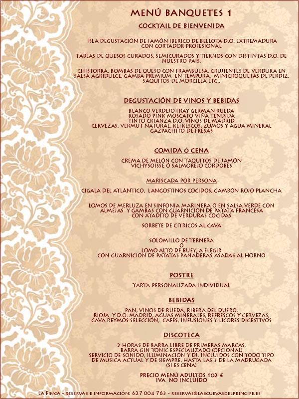 Menus bodas y banquetes 1 La Finca de Las Cuevas del Principe de Navalcarnero, Madrid