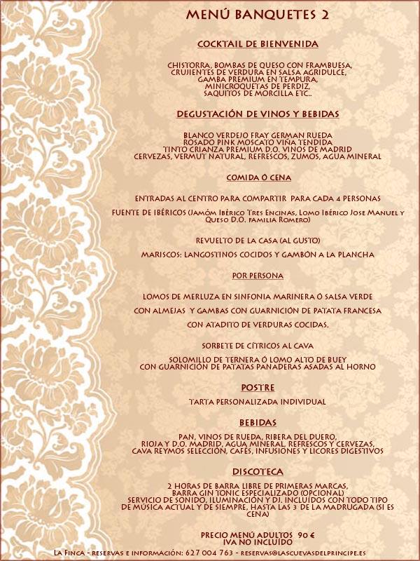 Menus bodas y banquetes 2 La Finca de Las Cuevas del Principe de Navalcarnero, Madrid