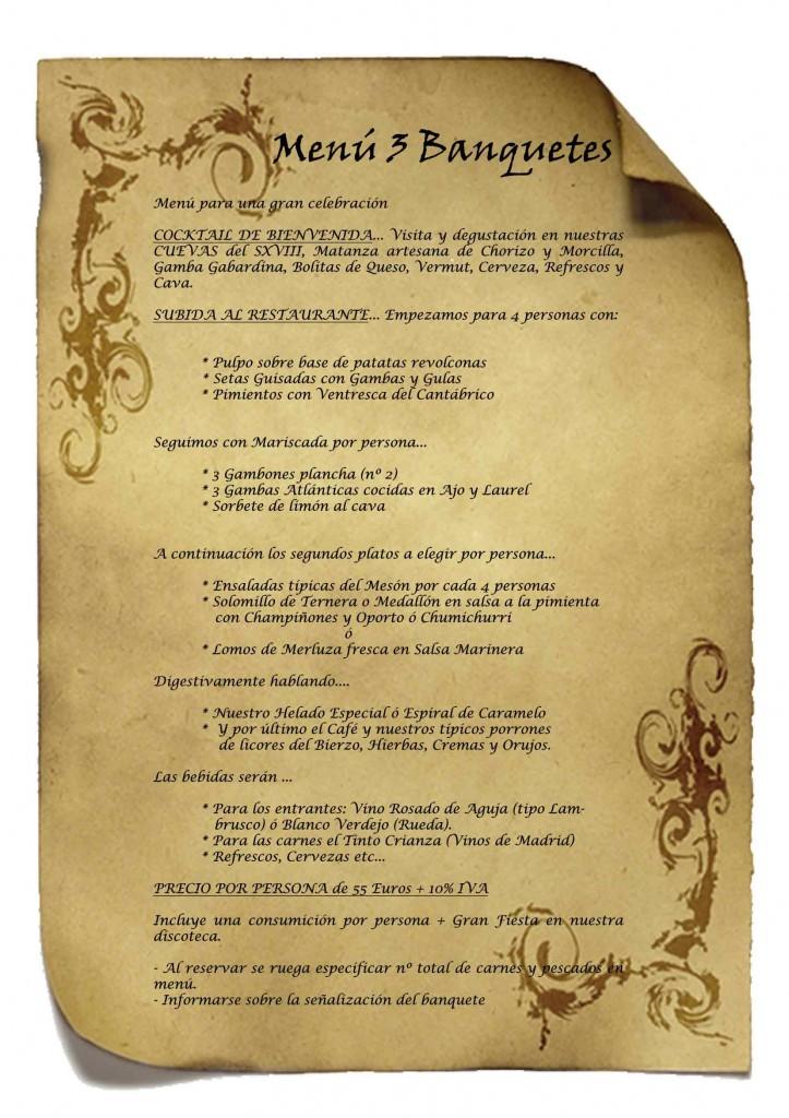 Menus bodas y banquetes 3 Las Cuevas del Principe de Navalcarnero, Madrid