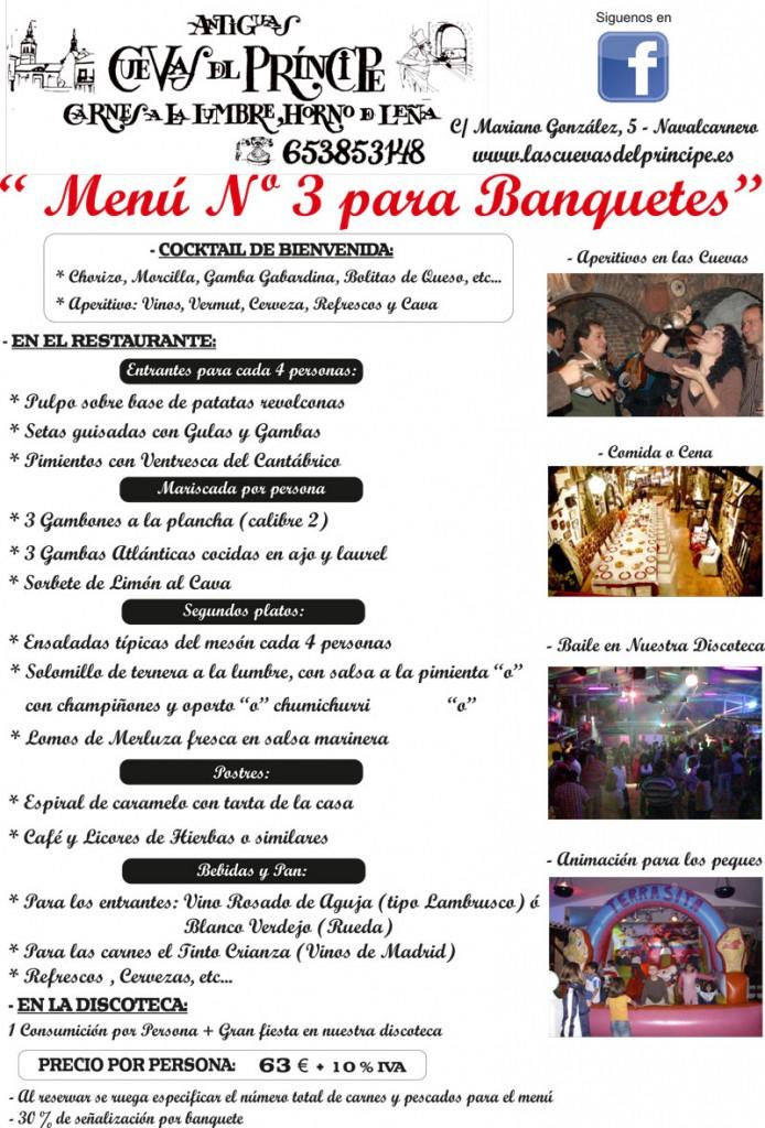 Menú 3 Banquetes Las Cuevas del Principe de Navalcarnero. Madrid