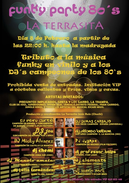 Fiesta Funky Madrid años 80 La Terrasita