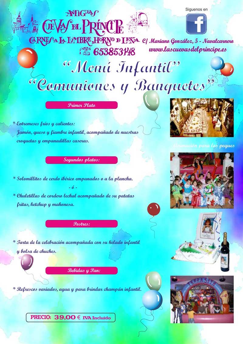 Menú infantil comuniones y banquetes Las Cuevas del Principe. Navalcarnero