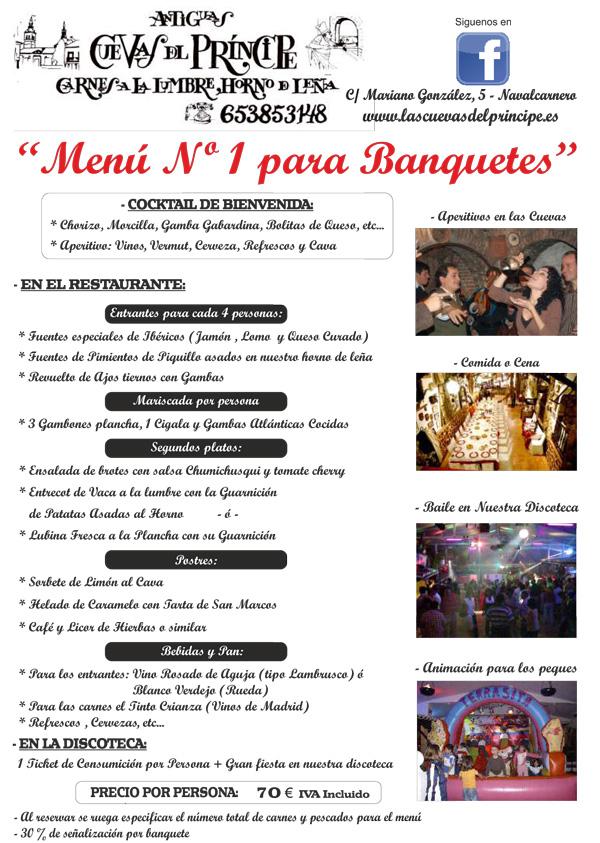 Menú 1 Banquetes Las Cuevas del Principe. Navalcarnero