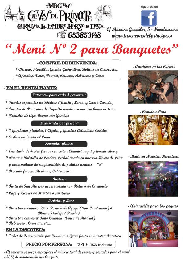 Menú 2 Banquetes Las Cuevas del Principe. Navalcarnero