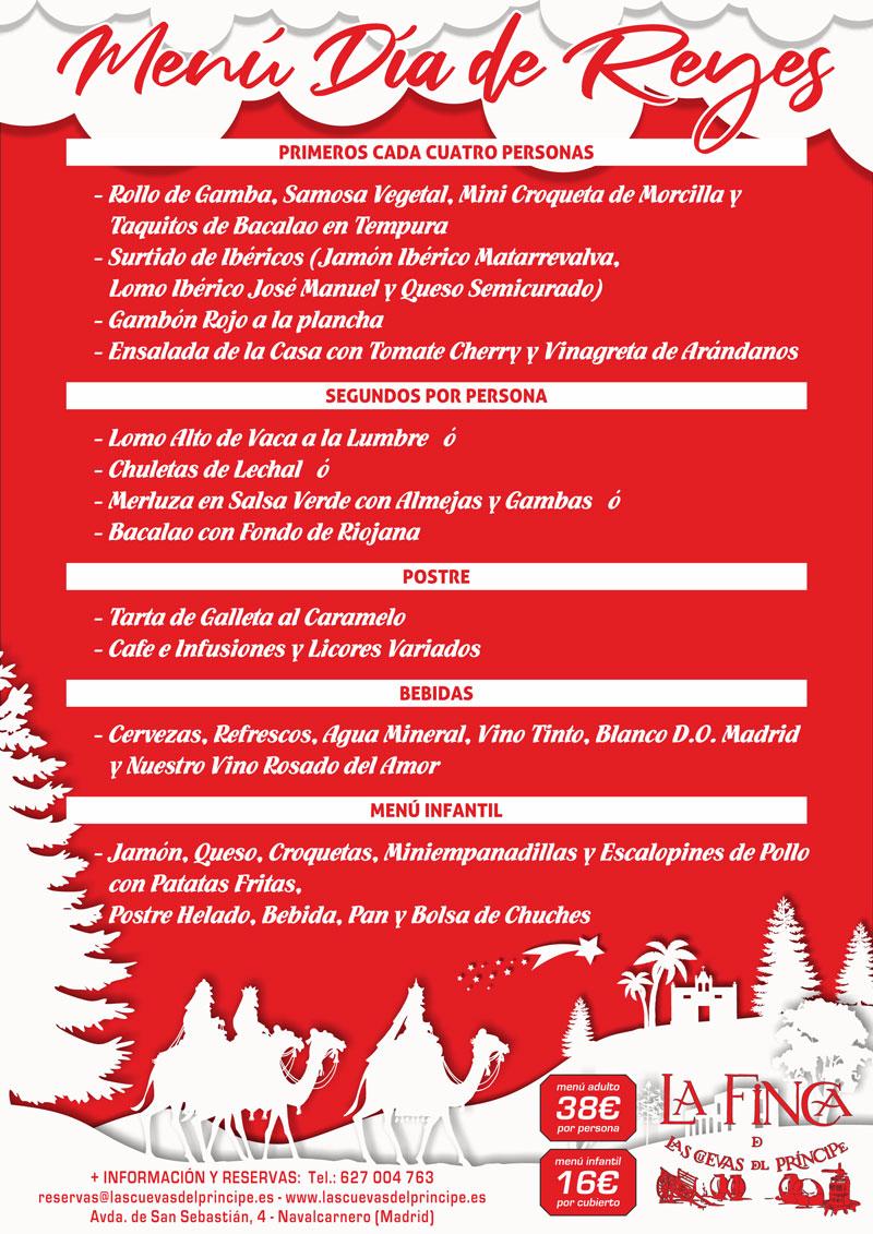 Menú Dia de Reyes La Finca de Las Cuevas del Principe
